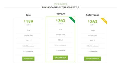 Pricing tables alternative style