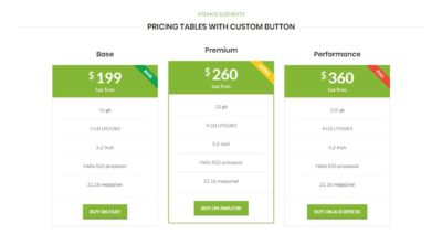 Pricing tables with custom button